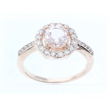 14 KRG Peach Morganite & Nude Diamond Ring w/ 0.87 ctw Morg. & 0.37 ctw Dia., Size 7