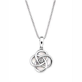 "Sterling Silver Diamond Pendant w/ 0.01 ctw, 16-18"" Adj. Chain"