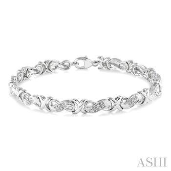 """Sterling Silver Diamond Fancy X Link Tennis Bracelet w/ 0.15 ctw, 7.5"""""""
