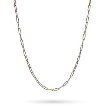 "Golden Interval Paper Clip Chain 18"""