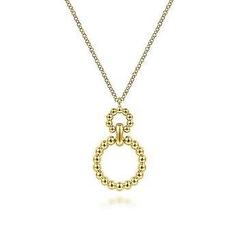 "14KY Gold Bead Circles Pendant 17.5"" Chain"