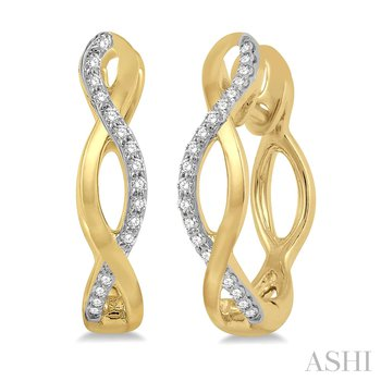 10KY Small Entwined Diamond Hoops w/ 0.10 ctw