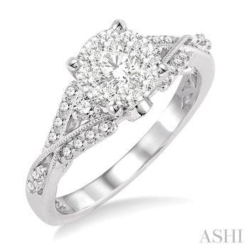 14KW Round Cut Diamond Lovebright Engagement Ring w/ 0.60 ctw Size7
