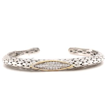 Sterling Silver Diamond Bangle Bracelet w/ 14KY Accents & 0.33 ctw