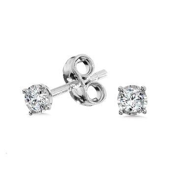 14KW Diamond Stud Earrings w/ 0.10 ctw