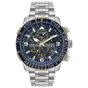 Stainless Steel Eco-Drive Promaster Skyhawk Atomic Time Watch w/ Blue Face