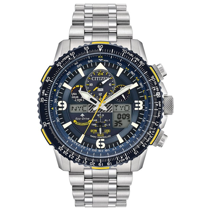 Citizen Watches in Stock Stainless Steel Eco-Drive Promaster Skyhawk Atomic Time Watch w/ Blue Face