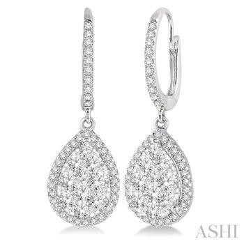 14KW Pear Shape Diamond Lovebright Earrings w/ 1.0 ctw