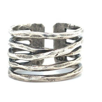 Sterling Silver Flourish Multiband Ring, Size 8-9