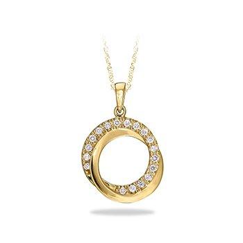 10KW Diamond Circles Pendant w/ 0.14 ctw