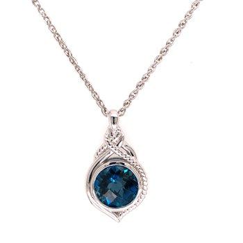 "Sterling Silver London Blue Topaz Pendant w/ 18"" Chain"