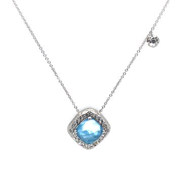 """Sterling Silver Pendant Rock Crystal, MOP, Turquoise, and White Sapphire w/ Adjustable 17.5"""" Chain"""