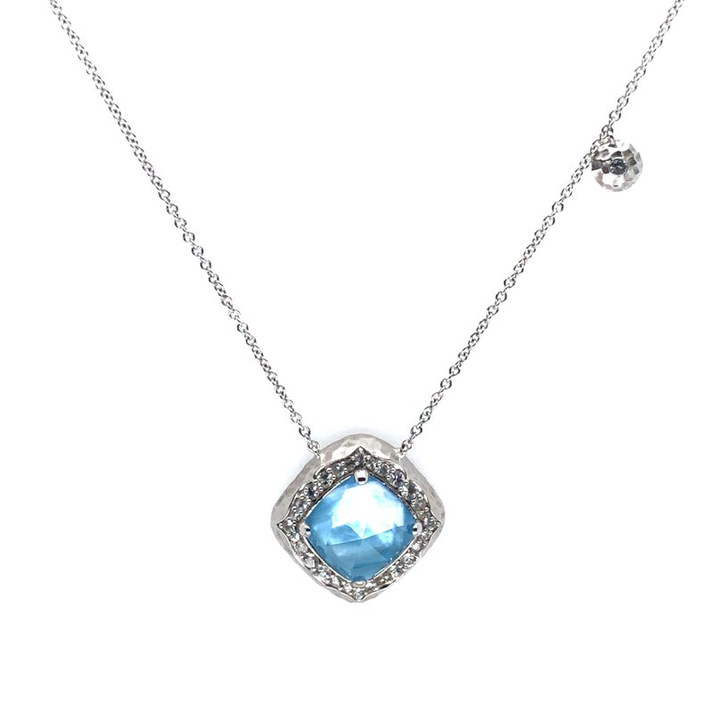 """Gabriel & Co. Sterling Silver Pendant Rock Crystal, MOP, Turquoise, and White Sapphire w/ Adjustable 17.5"""" Chain"""