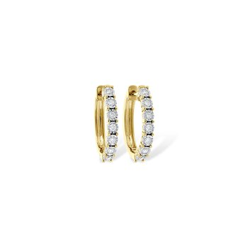 14KY Small Diamond Hoop Earrings w/ 0.25 ctw