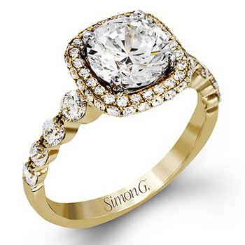 18KY Engagement Halo Semi-Mount Ring w/ 0.84 ctw