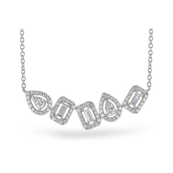 "14KW Diamond Multi Shape Bar Necklace w/ 0.55 ctw, 18"" Chain"