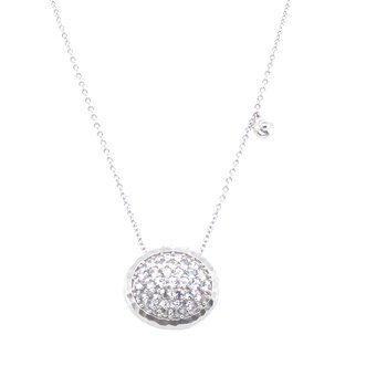 """Sterling Silver White Sapphire Necklace, 17.5"""" Chain"""