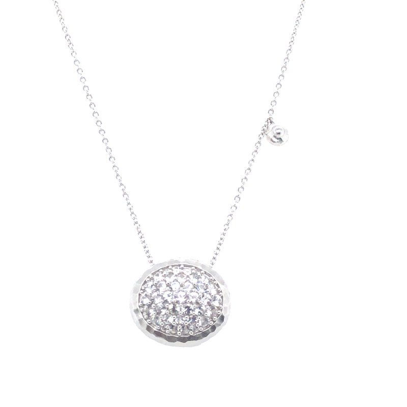 """Gabriel & Co. Sterling Silver White Sapphire Necklace, 17.5"""" Chain"""