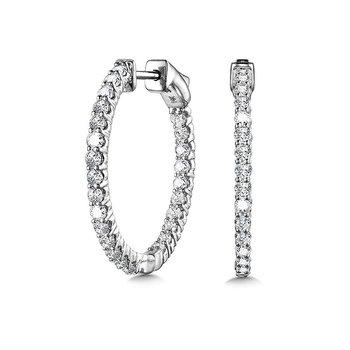 14KW Diamond Inside Out Small Hoop Earrings w/ 1.0 ctw