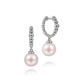 Sterling Silver Pearl Drop Huggies