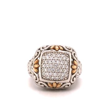 Sterling Silver Diamond Fashion Ring w/ 14KY Accents & 0.60 ctw, Size 7