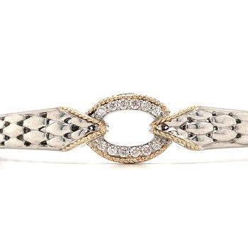 Sterling Silver Diamond Hinge Bracelet w/ 14KY Accents & 0.19 ctw