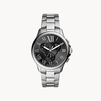 Sterling Silver Black-Toned Round Watch