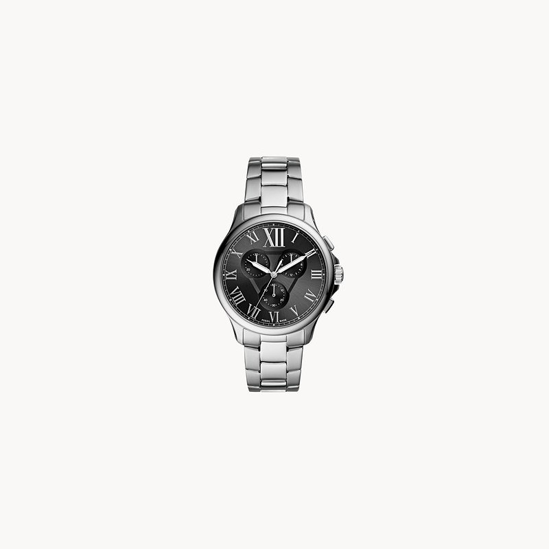 Fossil Sterling Silver Black-Toned Round Watch