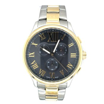 Sterling Silver Two-Tone Large Round Watch with Black Face and Gold Dials
