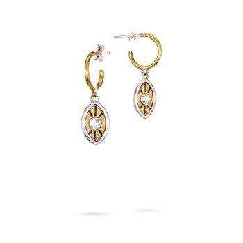 Sterling Silver & Brass Illuminatures Evil Eye Huggie Hoop Earrings