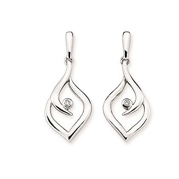 Sterling Silver Diamond Dangle Earrings w/ 0.02 ctw