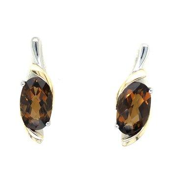 Sterling Silver & 18KY Honey Citrine Earrings