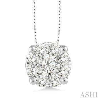 "14KW Diamond ""Lovebright"" Cluster Pendant w/ 0.75 ctw, 18"" Chain"