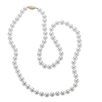 """14KY Freshwater Pearl Necklace w/ 7 -- 8 mm Pearls, 36"""" Chain & Ball Clasp"""