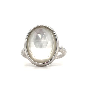 Sterling Silver Rock Crystal and White Mother of Pearl Oval Ring, Size 6.5