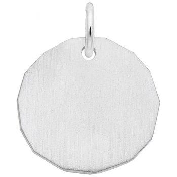 Sterling Silver Round Satin Finish Plain Charm
