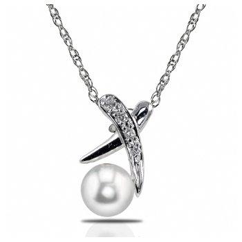 "14KW Freshwater Cultured Pearl & Diamond Pendan tw/ 5.5 -- 6  mm Pearl, 0.03 ctw Dia., 18"" Rope Chain"