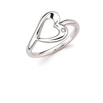 Sterling Silver Diamond Heart Ring w/ 0.01 ctw, Size 7