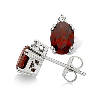 10KW Diamond & Garnet Earrings w/ 0.04 ctw Dia., & 6 X 4 Garnet