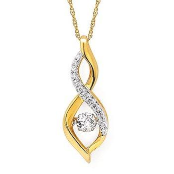 "14KY Shimmering Diamond Pendant w/ 0.25 ctw, 18"" Light Rope Chain"