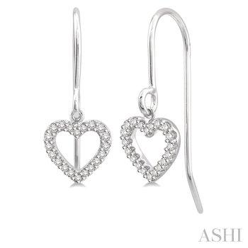 10KW Diamond Heart Earrings w/ 0.15 ctw
