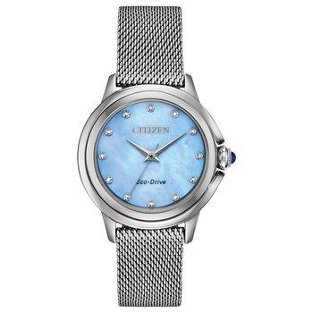 Stainless Steel Eco-Drive Watch w/ Genuine Diamonds