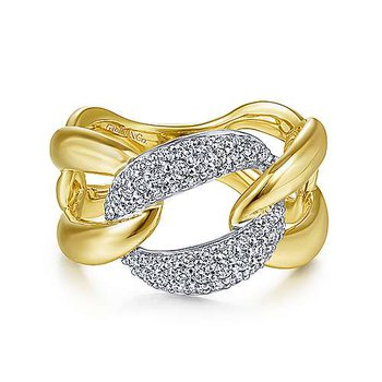 14K Two Tone Large Chain Link Diamond Station Ring w/ 0.46 ctw Size 6.5