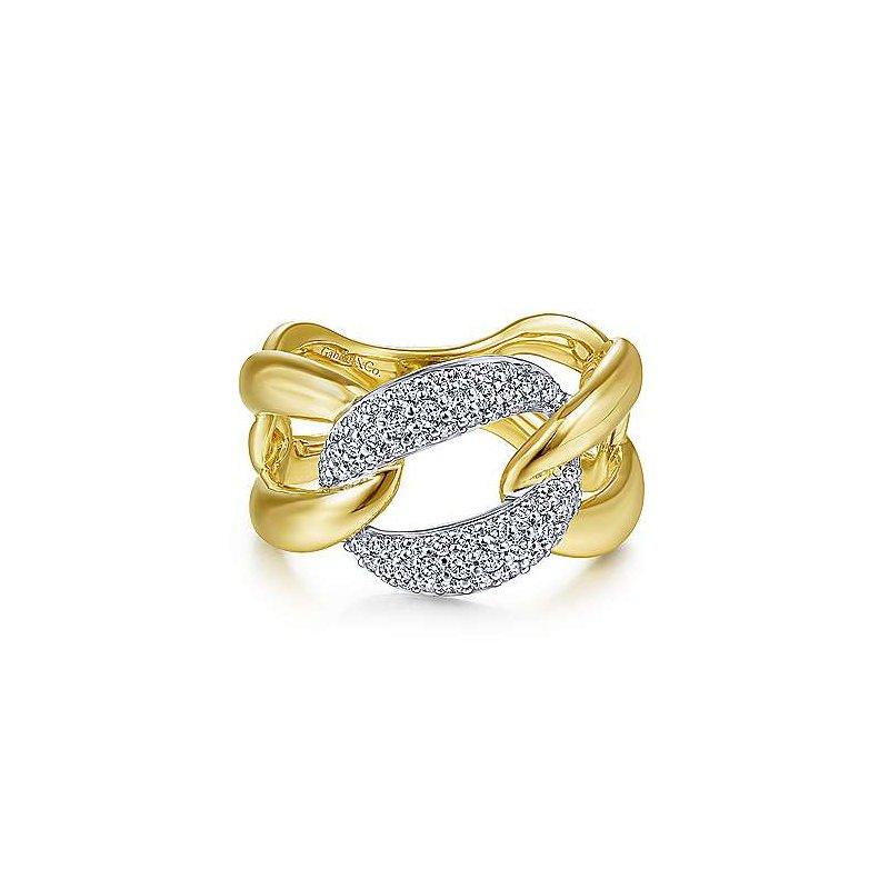 Gabriel & Co. 14K Two Tone Large Chain Link Diamond Station Ring w/ 0.46 ctw Size 6.5