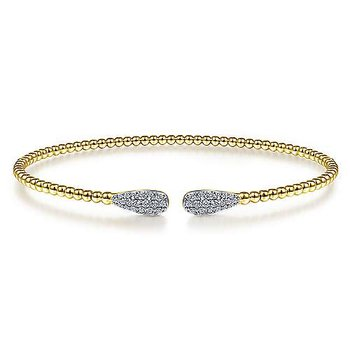 14KY Diamond Pave Teardrop Bujukan Bead Cuff Bracelet w/ 0.30 ctw