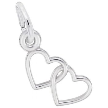 Sterling Silver Two Hearts Charm