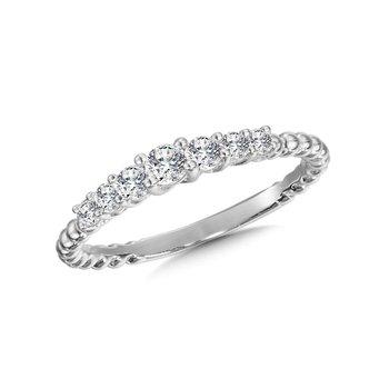 14KW 7 Stone Diamond Beaded Ring w/ 0.33 ctw