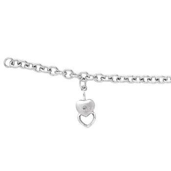 Sterling Silver Diamond Stacked Heart Charm Bracelet