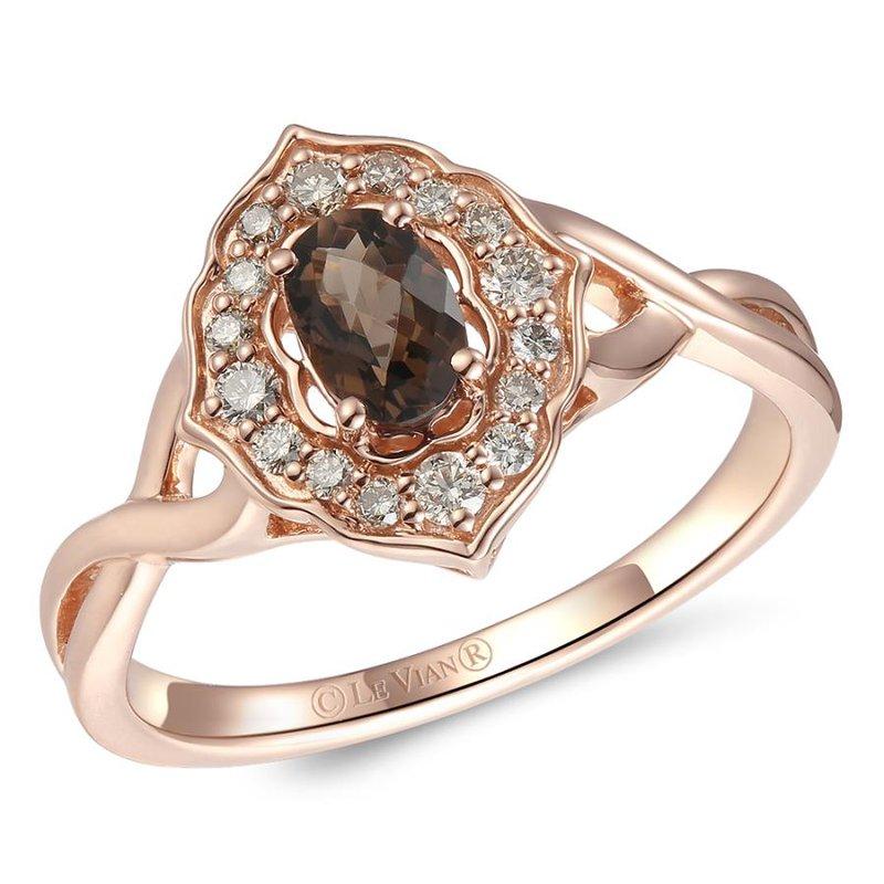 Le Vian In Stock 14KRG Chocolate Quartz & Nude Diamond Ring w/ 0.57 ctw, Size 7