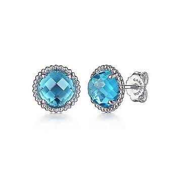 Sterling Silver Blue Topaz Stud Earrings with Bujukan Bead Frame